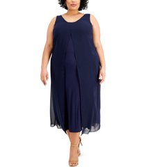 jm collection plus size sheer overlay maxi dress, created for macy's