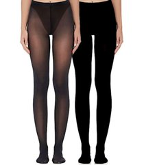 women's essential sheer and opaque tights set, pack of 2
