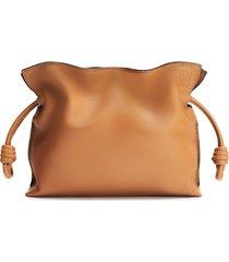 loewe mini flamenco leather clutch - brown