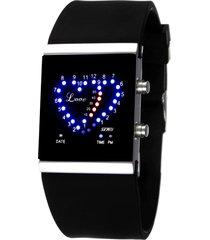 reloj en forma de corazón a prueba de agua-negro