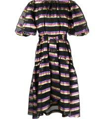 temperley london sheer-panel horizontal-stripe dress - black