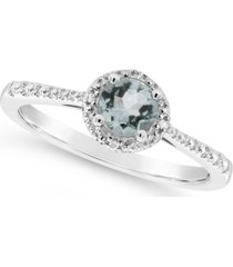 aquamarine (3/8 ct. t.w.) and diamond accent ring in sterling silver (also available in emerald)