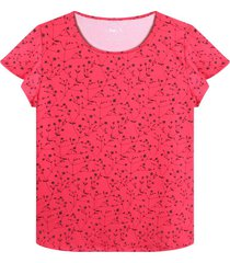 camiseta cuello redondo con estampado mini flores color rojo,talla l