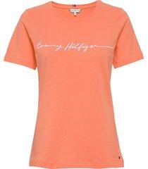 annie regular c-nk tee ss t-shirts & tops short-sleeved orange tommy hilfiger