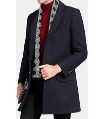 trench da uomo casual in lana a media lunghezza sottile cappotto sciallato bavero casual