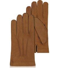 forzieri designer men's gloves, men's cashmere lined brown italian calf leather gloves