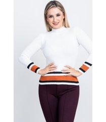 sweater con franja blanco 609 seisceronueve