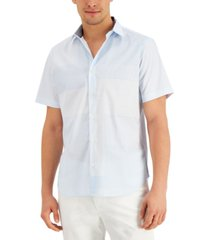 dkny men's classic-fit stretch stripe patchwork-print poplin shirt, created for macy's