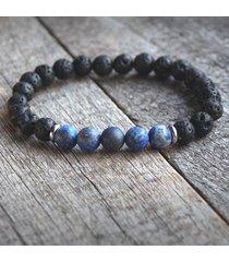 męska bransoletka :: lapis lazuli matowy & lawa