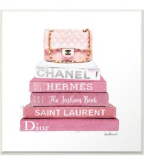 "stupell industries pink book stack fashion handbag wall plaque art, 12"" x 12"""