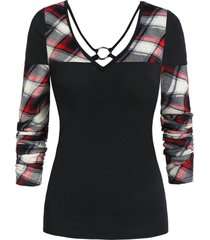 checked panel v neck long sleeve t shirt