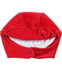 enxoval baby ano zero touca plush vermelho - vermelho - menina - dafiti