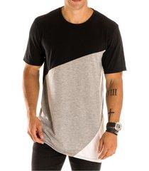 camiseta masculina long line diagonal preta - area verde - multicolorido - masculino - dafiti