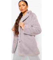 petite faux fur jas met kraag, grey
