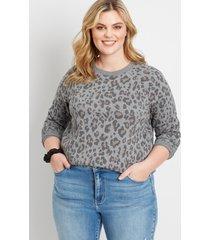 maurices plus size womens leopard crew neck sweatshirt gray