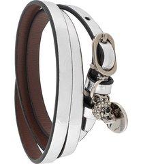 alexander mcqueen metallic skull wrap bracelet - grey