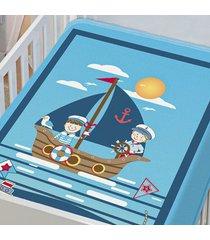cobertor infantil jolitex tradicional marinheiro azul masculino - kanui