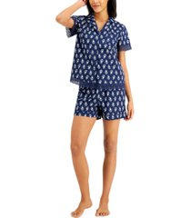 charter club notched collar cotton pajama shorts set, created for macy's