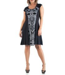 24seven comfort apparel women's plus size paisley a line dress