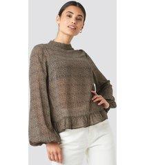 na-kd high neck flounce blouse - brown