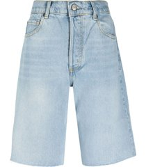boyish jeans bradley wide-leg denim shorts - blue