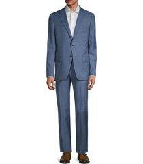 hickey freeman men's milburn ii regular-fit windowpane wool suit - light blue - size 42 r
