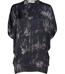 wave asymmetric top blouses short-sleeved blauw rabens sal r