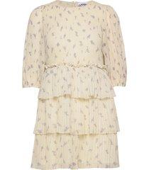 pleated georgette korte jurk crème ganni