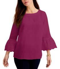 charter club eyelet bell-sleeve top, created for macy's