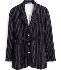 mathilde jacket in navy/ivory linen