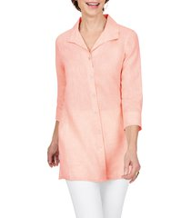 foxcroft sterling button front non-iron linen shirt, size 4 in coral twist at nordstrom
