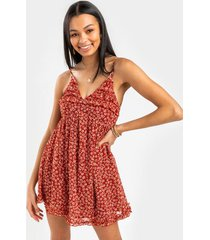 andy floral babydoll mini dress - rust