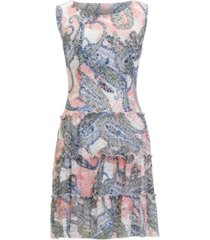 connected printed ruffled-tier lace dress