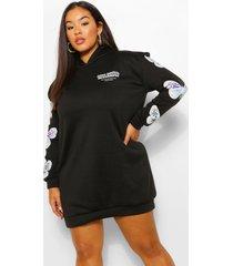 plus sweatshirt jurk met capuchon en vlindermouwen, zwart