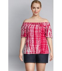 lane bryant women's tie-dye off-the-shoulder top 18/20 red tie dye