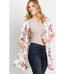 maurices womens blush floral shirred back kimono pink