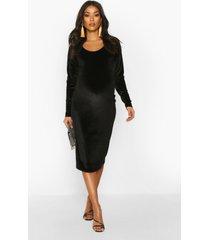 maternity scoop neck velvet midi bodycon dress, black