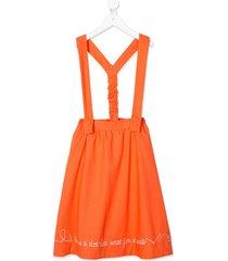 raspberry plum calla embroidered skirt - orange