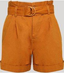 short de sarja feminino clochard cintura super alta com cinto cobre