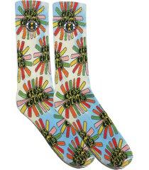 women's cross colours sunshine logo tie dye socks, size one size - blue