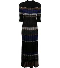 proenza schouler horizontal-stripe knitted dress - black