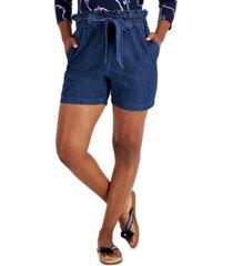 charter club cotton denim tie-waist shorts, created for macy's