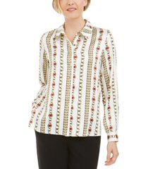 kasper petite chain-print collared button-up blouse