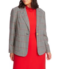 plus size women's court & rowe peak lapel plaid blazer