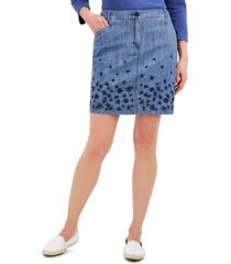 karen scott petite chambray border-print skort, created for macy's