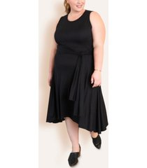 ori women's plus size wrap tie midi dress