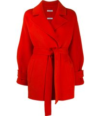 p.a.r.o.s.h. waist-tied fitted coat - orange