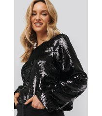 na-kd party heavy sequin blouse - black