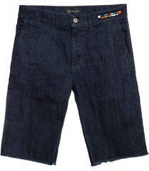 denim and cotton cavalry bermuda for man