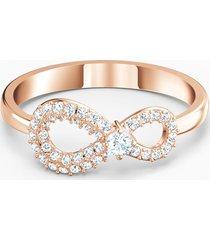 anello swarovski infinity, bianco, placcato color oro rosa